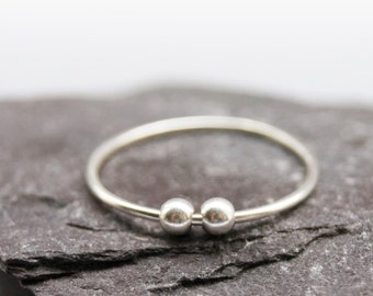 Smooth Beads Sterling Silver Fidget Ring ~ stacking ring, stackable, silver band, thin band, worry ring, fidget ring, spinner ring, anxiety