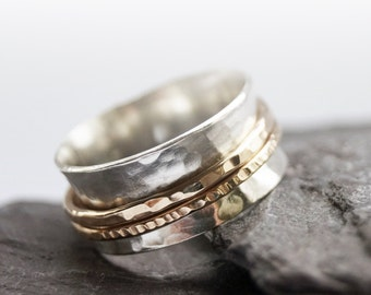 Gold Filled Two Band Sterling Silver Spinner Ring ~ fidget ring, unisex, anxiety ring, spinning, worry meditation, hammered,  gold filled