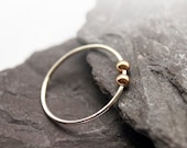 Gold Filled Smooth Beads Sterling Silver Fidget Ring stacking ring, stackable, worry ring, fidget ring, spinner ring, anxiety, recycled