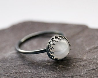 Gothic Crown Moonstone Sterling Silver Ring ~ statement ring, stacking ring, gemstone, unique, gothic, oxidised, oxidized, black, birthstone