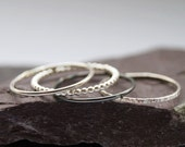 Four Skinny Recycled Sterling Silver Stacking Rings - stacking rings, hammered, silver bands, stackable, texture, stocking filler