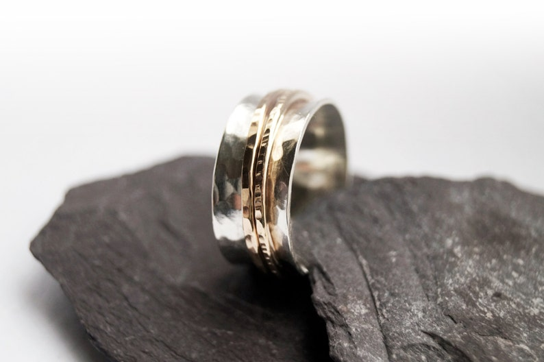 anxiety recycled worry meditation gold filled unisex spinning Gold Filled Two Band Sterling Silver Spinner Ring ~ fidget ring