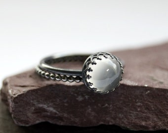 Gothic Crown Moonstone Sterling Silver Ring Stack ~ statement ring, stacking ring, gemstone, unique, gothic, oxidised, oxidized, black