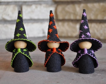 Three Little Wooden and Wool Felt Witches – A Waldorf and Montessori Inspired Halloween Toy - Wooden Peg Doll - Halloween Decor (K)