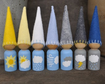 Weather Gnomes - Painted, Wooden and Wool Felt Peg Dolls Set -  Waldorf and Montessori Inspired Preschool Pretend Play Toys (K)