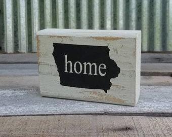 Block Sign/Iowa/Home Block Sign State Custom Iowa