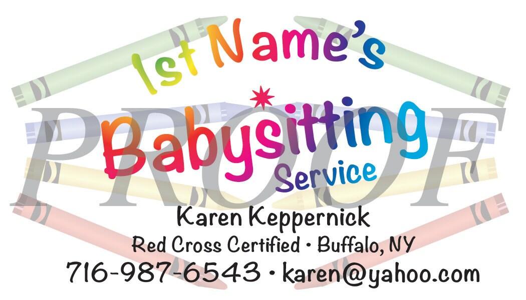 Baby Sitting Design Colore Amusante Carte De Visite