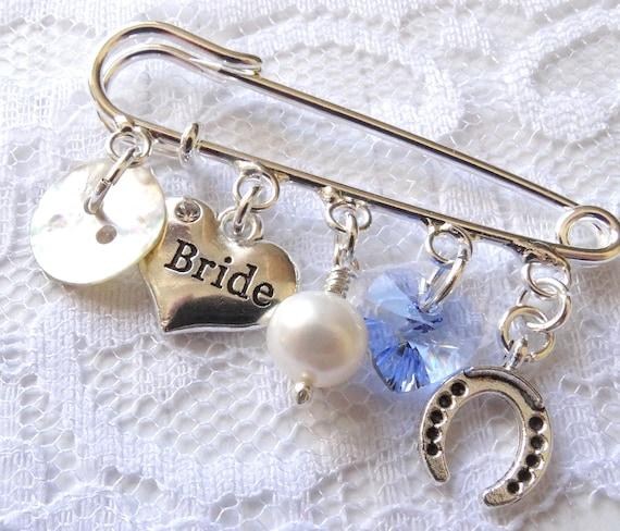 Bride Good Luck Gift Keepsake Brooch Something Blue Wedding Bouquet Pin