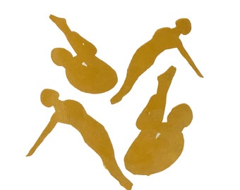 Four divers Handmade Silk Screen Print Gold