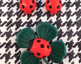 LADYBUG SET, with Four Leaf Clover Brooch and Ladybug Earrings.