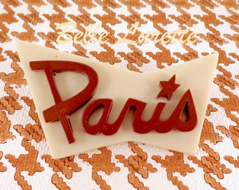 PARIS ! New BROOCH. in Retro Burgundy and Ivory Colors.