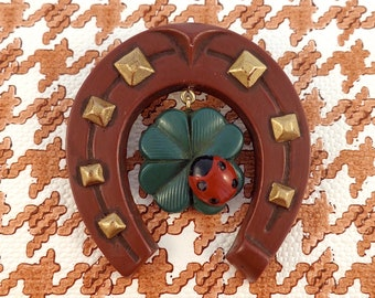 LUCKY YOU Brooch : Horseshoe with Four Leaf Clover and Ladybug dangling Charm.
