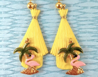 TIKI HUT Stud EARRINGS, in Yellow, with Dangle Palm Tree and Pink Flamingo.