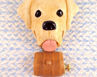 RESCUE DOG Large BROOCH, with his dangling Schnaps Barrel.