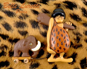 CAVEMAN and his MAMMOTH Double Brooch.