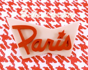 PARIS ! New BROOCH. in Retro Cherry Red and Ivory Colors.