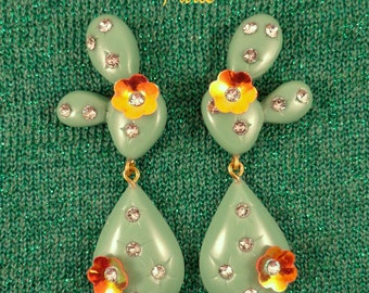 CACTUS - Long Version - CLIP EARRINGS, with Iridescent Orange Flower.