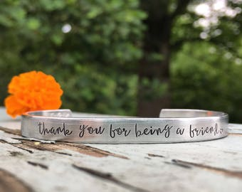 Betty White inspired gift | thank you for being a friend | Golden girls jewelry | Custom cuff bracelet | Friend gift |