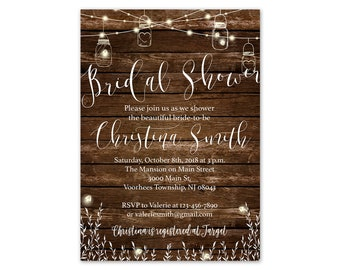 rustic bridal shower invitations printed and shipped to you includes invitation and white envelopes country bridal 117