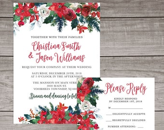 christmas wedding invitations printed and shipped to you includes invitation self mailing rsvp card envelopes poinsettia wedding 117
