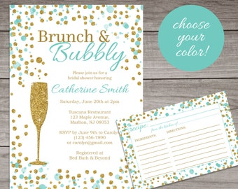 brunch and bubbly bridal shower invitation teal and gold glitter elegant bridal shower invitation modern bridal 145