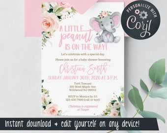 Elephant Baby Shower Invitations for Girls - Little Peanut - Pink - Edit Yourself & Instant Download with Corjl! Baby-203