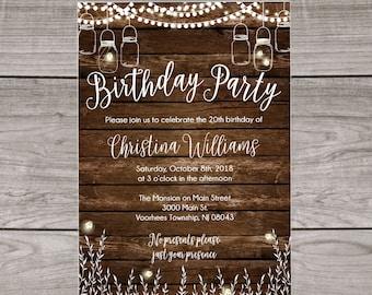 Adult birthday party invitations etsy rustic birthday party invitation country rustic birthday invitations adult birthday invitations rustic bbq birthday 123 filmwisefo