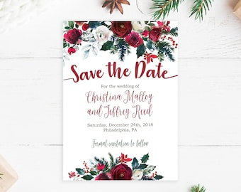 christmas save the date cards printed and shipped to you includes printed cards and envelopes holiday wedding 113