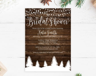 Winter Bridal Shower Invitations Etsy