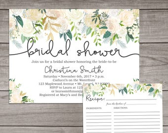 greenery bridal shower invitations greenery with ivory accents printed or digital file floral invitations winter bridal 107