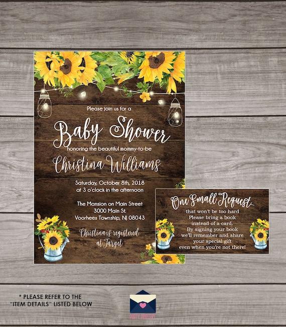 Rustic Sunflower Baby Shower Invitation Sunflower Baby Etsy