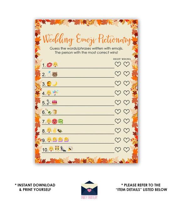 Fall wedding emoji pictionary game fall bridal shower emoji etsy image 0 solutioingenieria Gallery
