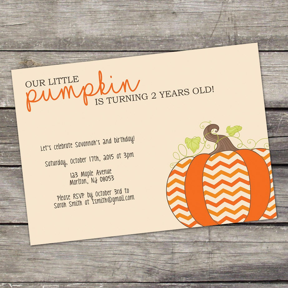 Little Pumpkin Birthday Party Invitations Pumpkin Patch   Etsy