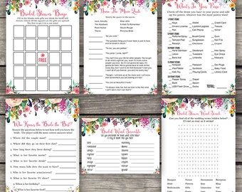 Floral Bridal Shower Games Package -  Bingo - Word Scramble - Word Search - Bridal Shower Activity - Watercolor Bridal-154
