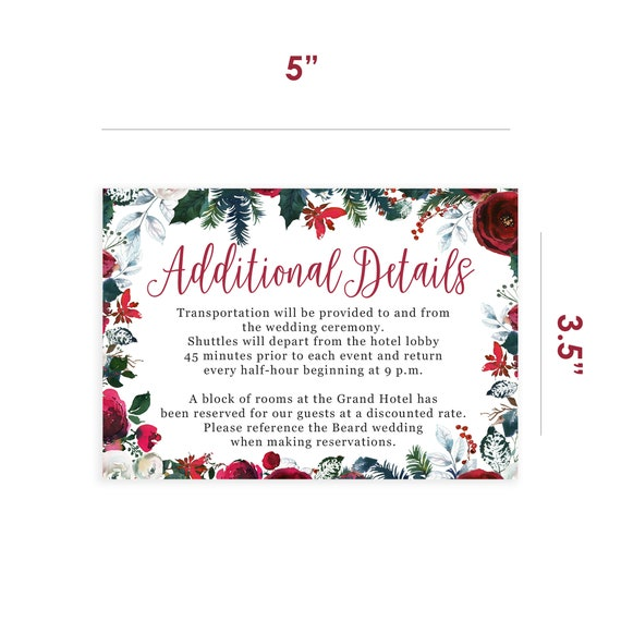 Christmas Wedding Details Insert Cards Printed And Shipped To Etsy