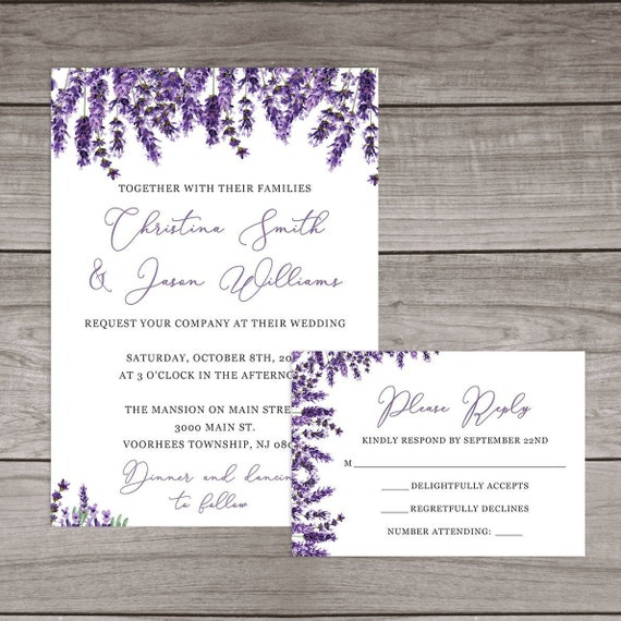 Lavender Wedding Invitations Printed And Shipped To You Includes Invitation Self Mailing Rsvp Card And Envelopes Wedding 109