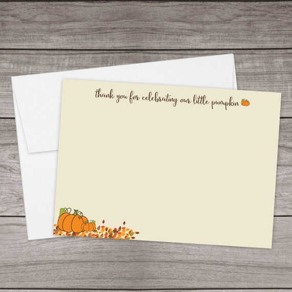 Pumpkin Thank You Cards For A Baby Shower Thank You For Etsy