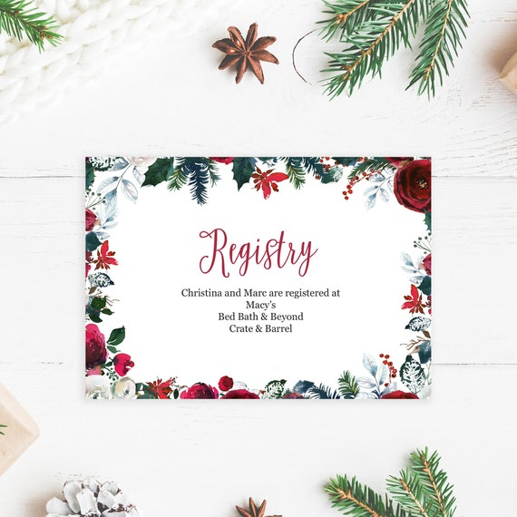 Bed Bath And Beyond Christmas Eve Hours.Christmas Wedding Registry Insert Cards Printed And Shipped To You Holiday Wedding Invitations Wedding 113