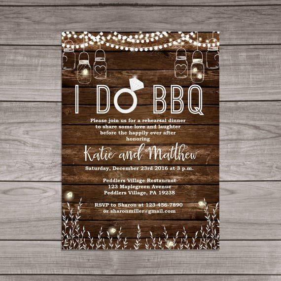 BBQ Rehearsal Dinner Invitations Rustic Mason Jars