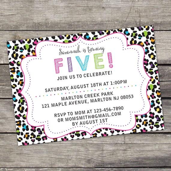Cheetah Print Rainbow Birthday Party Invitation Girls