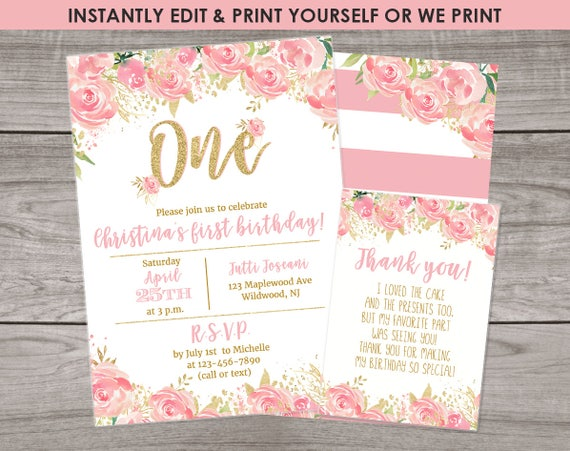 Pink And Gold First Birthday Invitations Edit Download