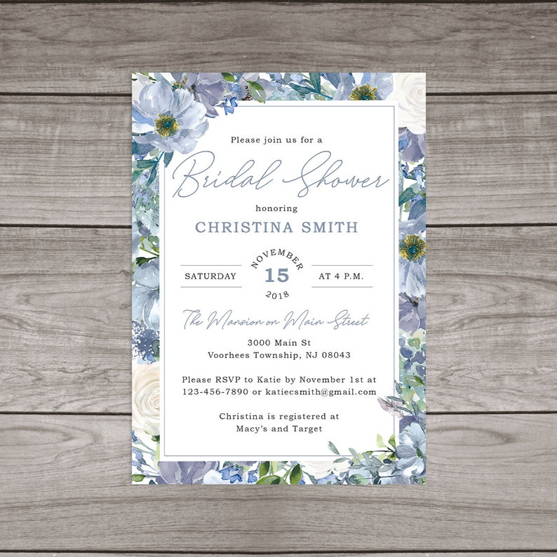 2fa7791792a7 Dusty Blue Bridal Shower Invitations Printed and Shipped to