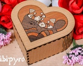 Wooden heart box with red pandas marquetry