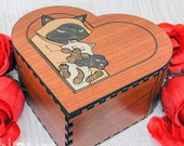 Wooden heart box mother day with Cats marquetry