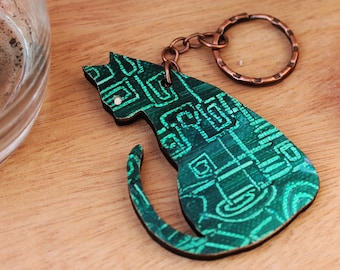 Painted Cat keychain laser name