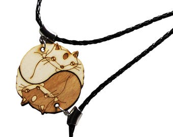 Yin Yang Fox wooden pendant animal couple