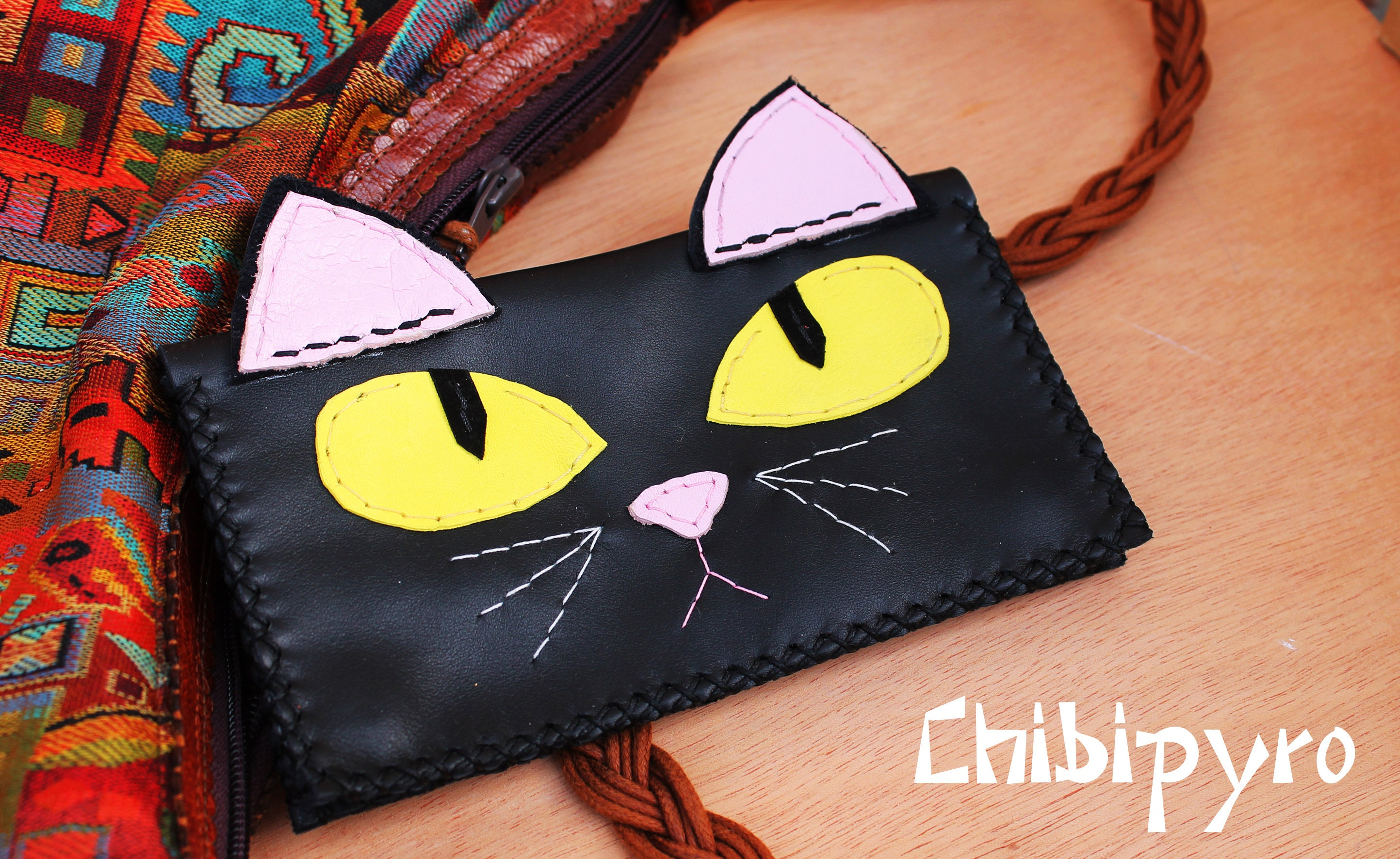 Handmade Coin Purse Black Cats