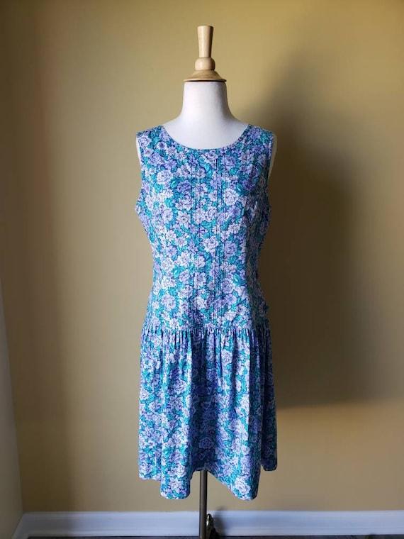 Vintage 90s Laura Ashley drop waist floral dress/… - image 1