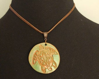 Tribal Sea Turtle on leather necklace