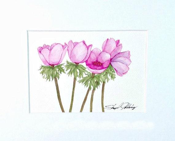 Pink Anemones Original in 8x10 Mat Frame Ready | Etsy